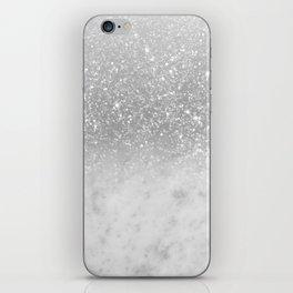White Marble Silver Ombre Glitter Glam #1 #shiny #gem #decor #art #society6 iPhone Skin
