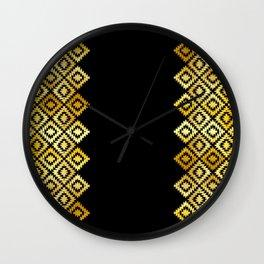 Turkish carpet gold black. Patchwork mosaic oriental kilim rug with traditional folk ornament Wall Clock