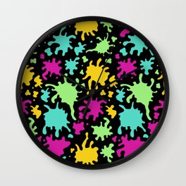 Colorful Paint Splatter Pattern Wall Clock