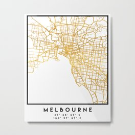 MELBOURNE AUSTRALIA CITY STREET MAP ART Metal Print