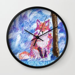 Calm Winter Fox Wall Clock