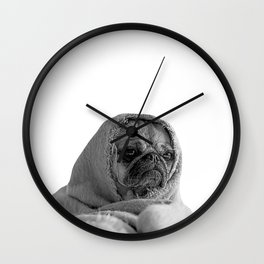 forever mood - pug in a blanket Wall Clock