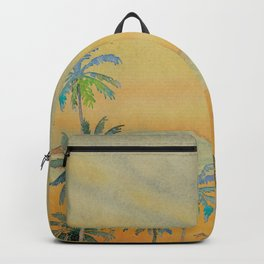 Dreamy Sunset - Tropical Watercolor with Palm Trees in Yellow and Orange Backpack