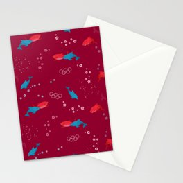 Red Shark and Dolphin Stationery Cards