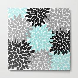 Aqua Black Gray Flower Burst Floral Pattern Metal Print