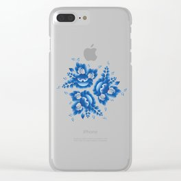 Vintage shabby Chic Seamless pattern with blue flowers and leaves. Vector Clear iPhone Case