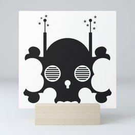 mindless digital skull - black Mini Art Print