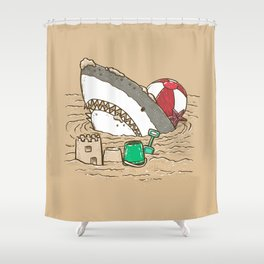 Sandy Beach Shark Shower Curtain