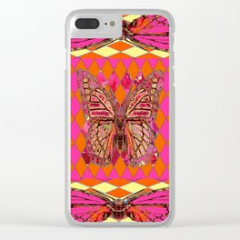 ABSTRACT MONARCH BUTTERFLY IN PINK-YELLOW Clear iPhone Case