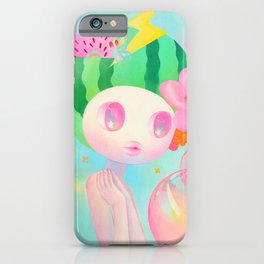 'Best Wish' cute rainbow watermelon fruit art print  iPhone Case