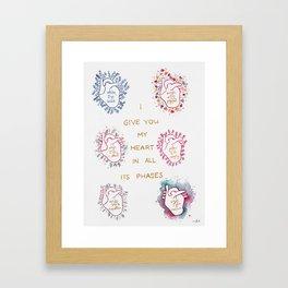 Phases of my heart Framed Art Print