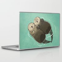 otters Laptop & iPad Skins featuring Significant Otters - Otters Holding Hands by StudioMarimo