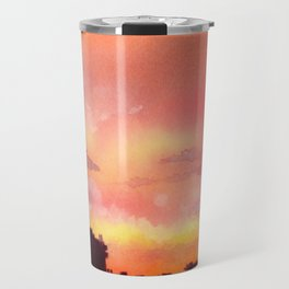 Minsk sunset skyline in watercolours Travel Mug