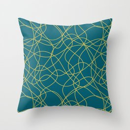 Dark Yellow Scribbled Lines Abstract Hand Drawn Mosaic on Tropical Dark Teal Inspired by Sherwin Williams 2020 Trending Color Oceanside SW6496 Throw Pillow