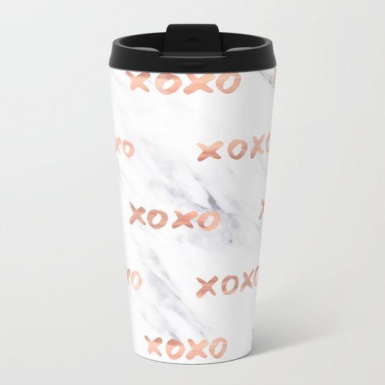 XOXO Text Rose Gold on Marble Metal Travel Mug