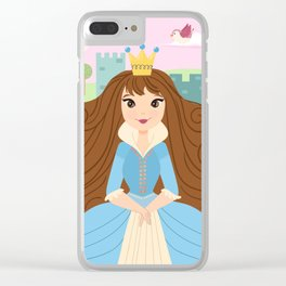 Fairy Tale Princess With Her Story Book Castle - Blue Dress Clear iPhone Case