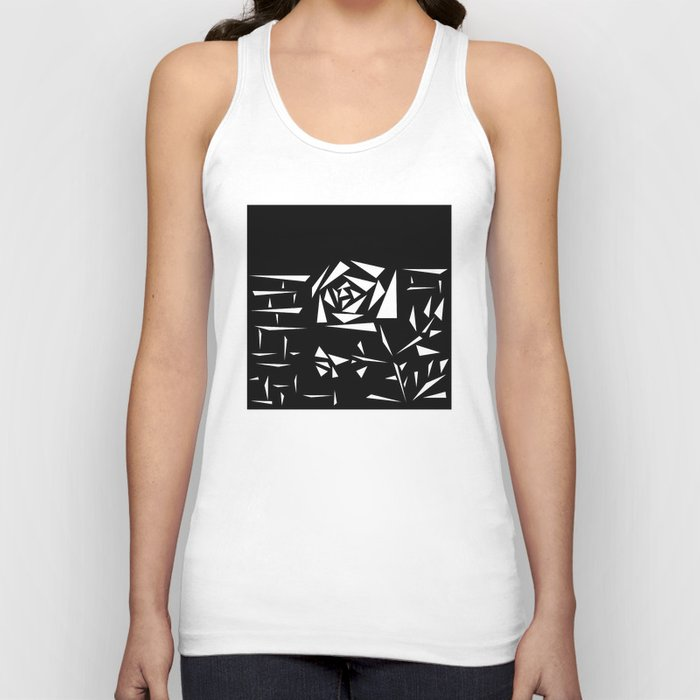 Black and white abstract pattern of Roses. Triangles .1 Unisex Tank Top