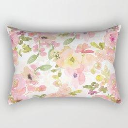 Scandi Peach Summer Hand Drawn Watercolor Flowers Meadow Rectangular Pillow