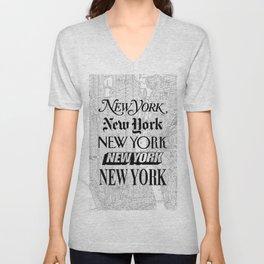 New York City black and white New York poster I love heart NYC Design black-white home wall decor Unisex V-Neck