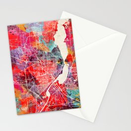 Peoria map Illinois painting 2 Stationery Cards