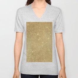 Elegant stylish faux gold glitter Unisex V-Neck