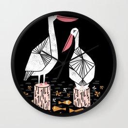 Pelican water ocean seaside nature animal bird screen print art by andrea lauren Wall Clock