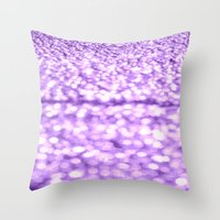 glitter Throw Pillows featuring Purple Glitter Sparkles by WhimsyRomance&Fun