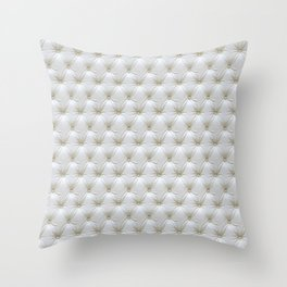 Faux White Leather Buttoned Throw Pillow