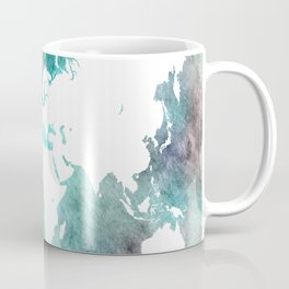 Design 62 World Map Turquoise Aqua Coffee Mug