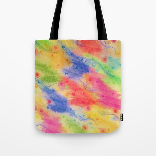 SEEING STARS 2 - Yellow Rainbow Pretty Starry Sky Abstract Watercolor Painting Feminine Pattern Tote Bag