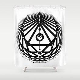 Radiant Abundance (white-black) Shower Curtain