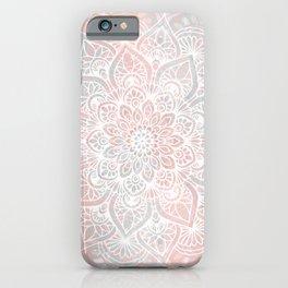 Mandala, Yoga, Love, Coral and Gray, Wall Art Boho iPhone Case