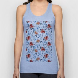 Country orange blue watercolor hand painted flowers Unisex Tank Top