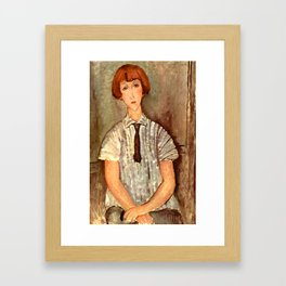 "Amedeo Modigliani ""Young Girl in a Striped Blouse"" Framed Art Print"