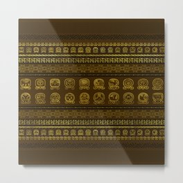 Maya Calendar Glyphs pattern Gold on Brown Metal Print