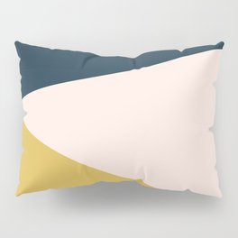 Jag 2. Minimalist Angled Color Block in Navy Blue, Blush Pink, and Mustard Yellow Pillow Sham
