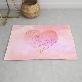 Planet Heart on Pink Sky Rug