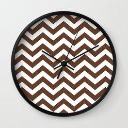 Chocolate Brown Chevron Zig Zag Pattern Wall Clock