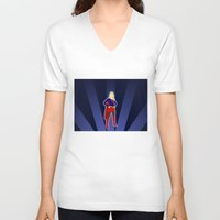 supergirl V-neck T-shirts featuring Supergirl by livinginamovie