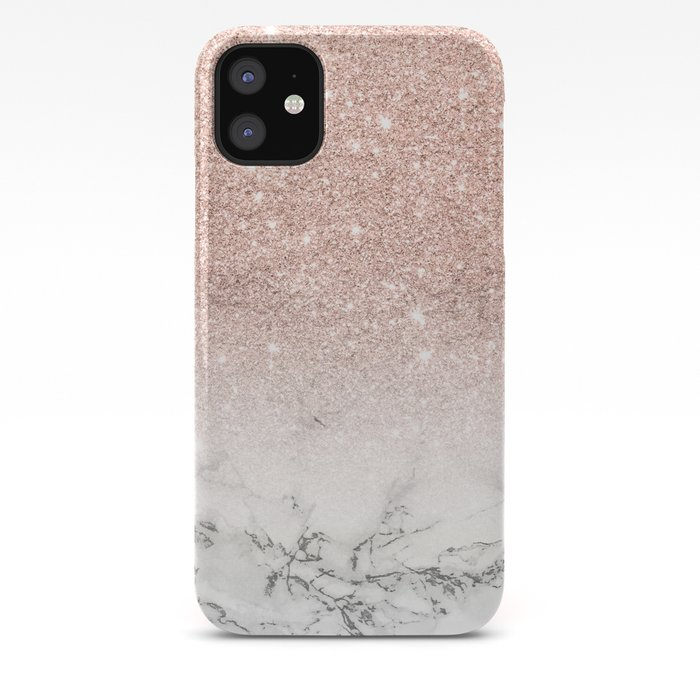 Modern Faux Rose Gold Pink Glitter Ombre White Marble Iphone Case By Girlytrend