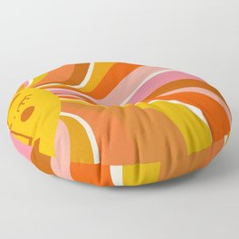 Sunshine Swirl – Retro Ochre Floor Pillow