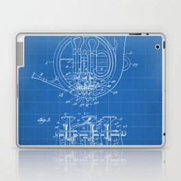French Horn Patent - Horn Player Art - Blueprint Laptop & iPad Skin