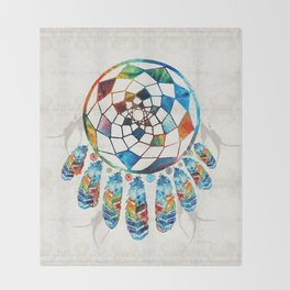 Native American Colorful Dream Catcher by Sharon Cummings Throw Blanket