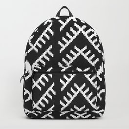 Stitched Arrows in Black and White Backpack