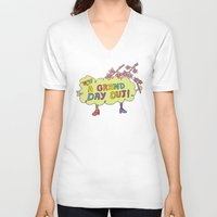 cherry blossom V-neck T-shirts featuring Cherry Blossom by PINT GRAPHICS