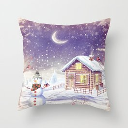 Christmas scene with snowman and house Throw Pillow