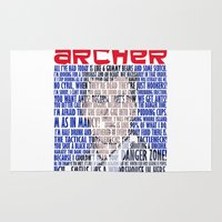 archer Area & Throw Rugs featuring Best of Archer Quotes by Mental Activity
