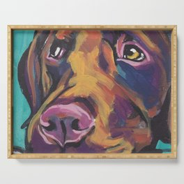 Fun Chocolate Lab Dog bright colorful Pop Art Labrador Serving Tray