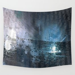 Taking the Evening Train Through Winter Words Wall Tapestry