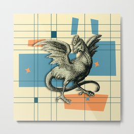Mythical Cockatrice on Retro Pattern Metal Print